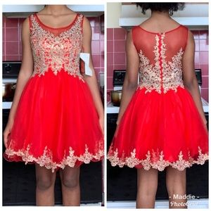 Red cocktail dress with beading design on top